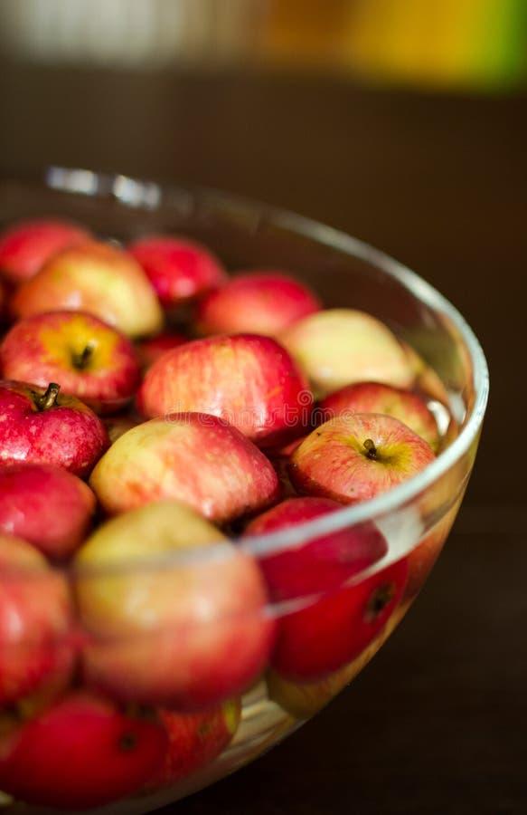 Rote Äpfel, die ein Bad in der Glasschüsselfülle mit Wasser nehmen lizenzfreies stockbild