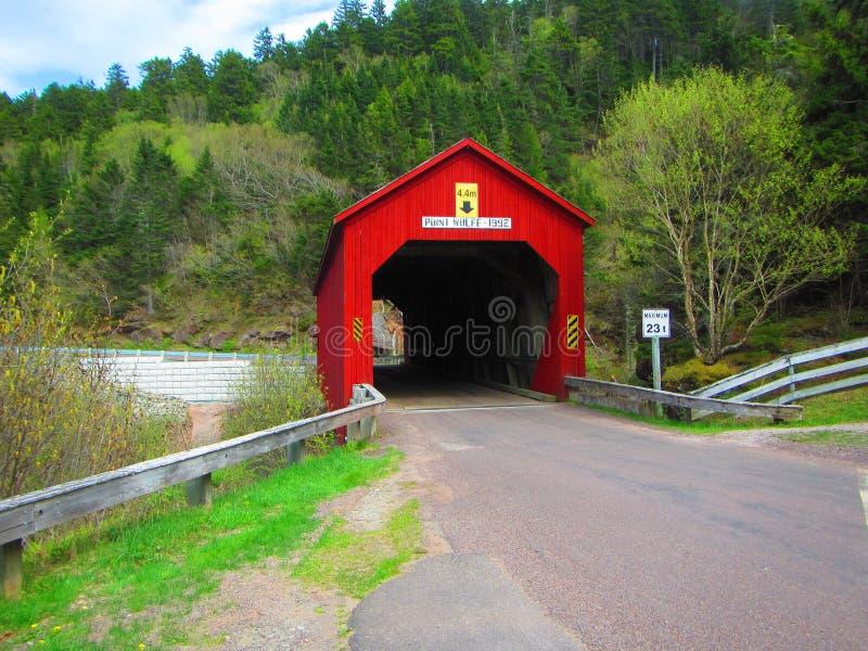Rote abgedeckte Brücke stockfoto