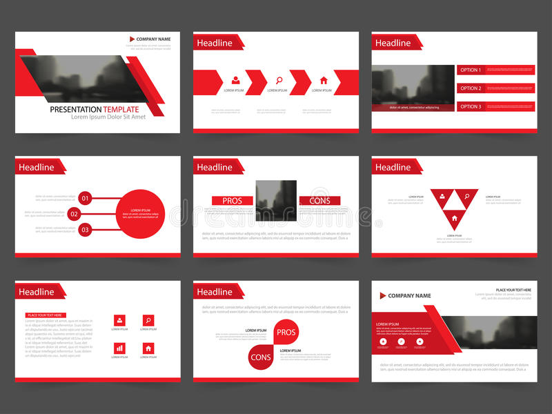 Rote abstrakte Darstellungsschablonen, flaches Design der Infographic-Element-Schablone stellten für Jahresberichtbroschürenflieg vektor abbildung