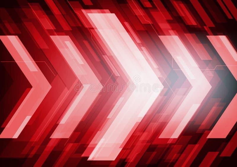 Rote abstrakte Technologiepfeile lizenzfreie abbildung