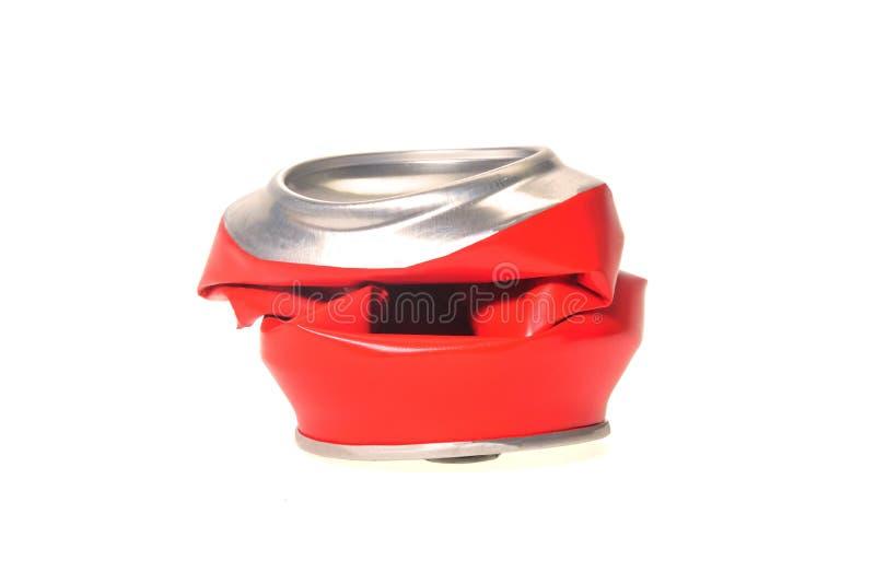 Rote Aluminiumdose flach gedrückt stockfoto
