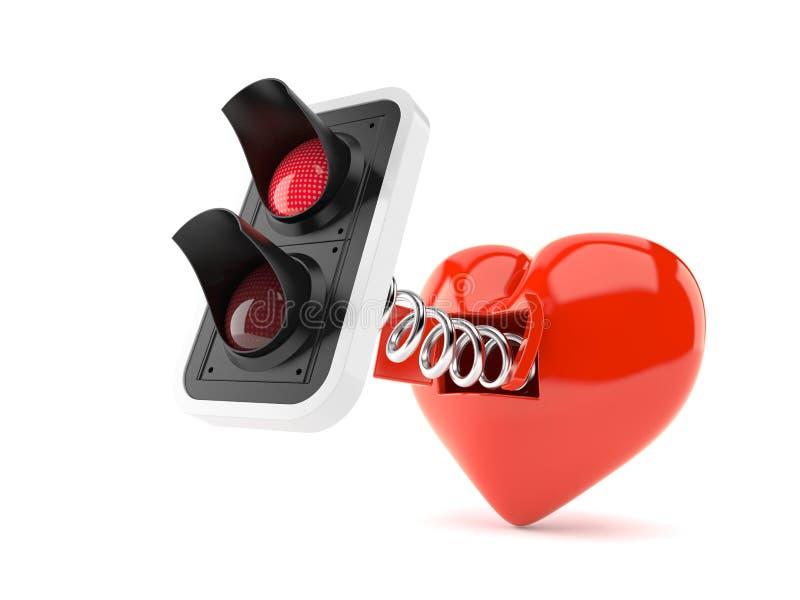Rote Ampel mit Herzen stock abbildung