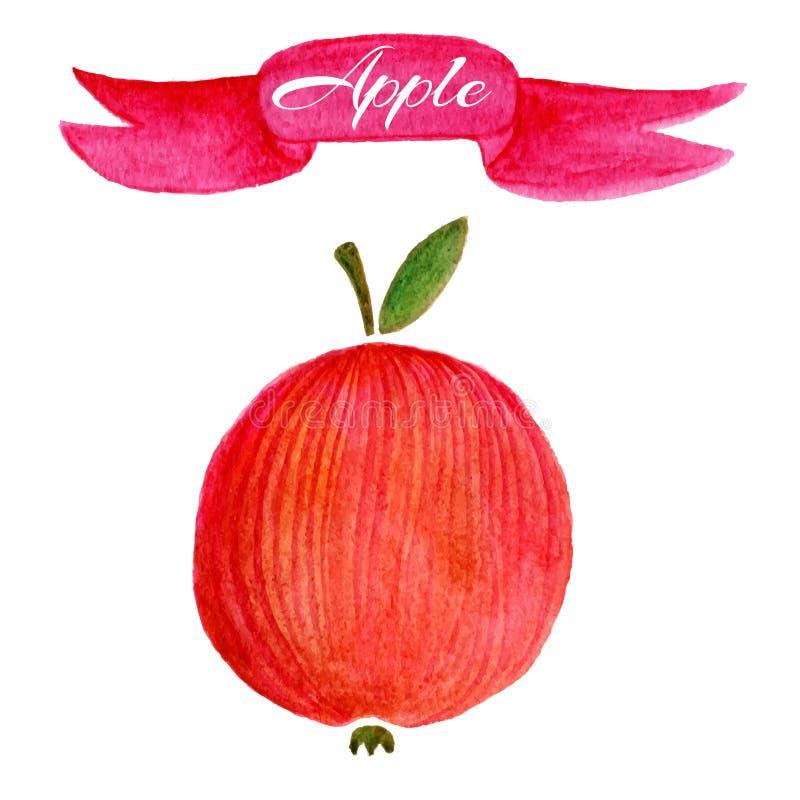 Rote Apfellogo-Designschablone Lebensmittel- oder Fruchtikone lizenzfreie abbildung