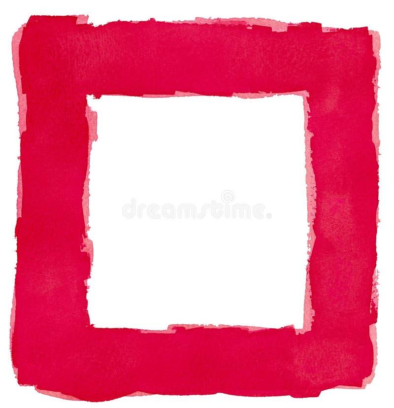Rote Aquarell-Quadrat-Rahmen-Grenzweißer Kopien-Raum Stockfoto ...