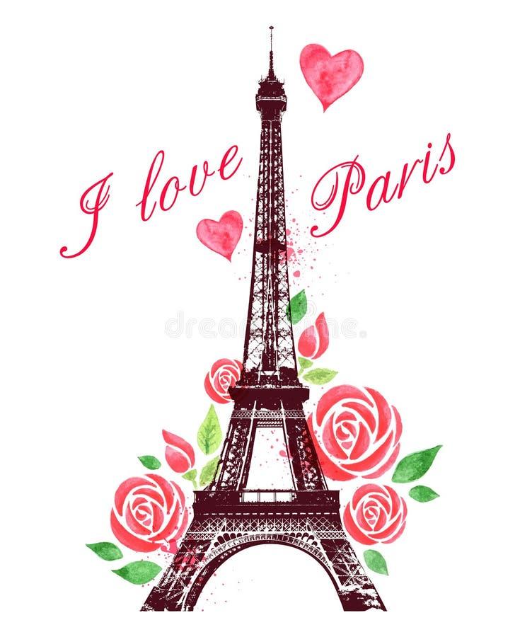 Rote Aquarell Rosen und Eiffelturm vektor abbildung