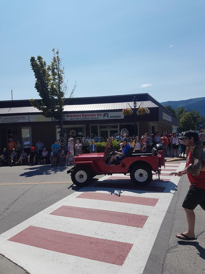 Rote Armee Jeep Grand Forks BC stockfotografie