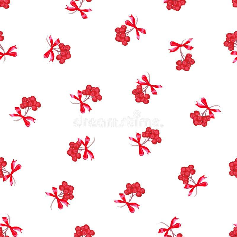 Rote ashberry Bündel mit Band beugt nahtlosen Vektordruck lizenzfreie abbildung