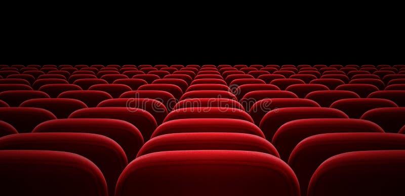 Rote Auditoriums- oder Kinohallensessel stockbild