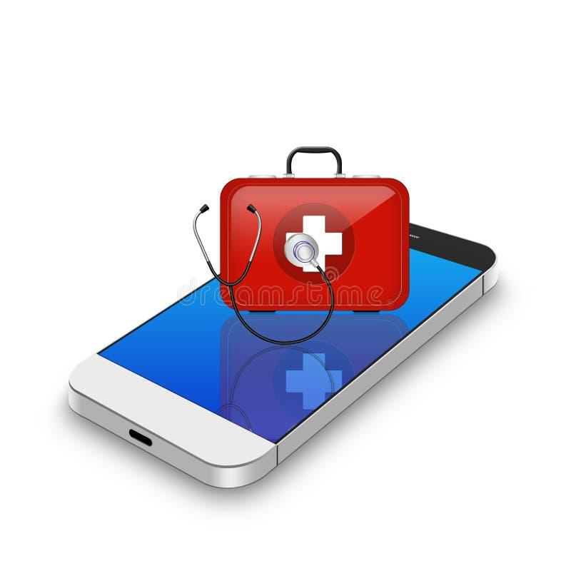 Rote Ausrüstung der ersten Hilfe mit Stethoskop auf Smartphone, Handy illu lizenzfreie abbildung