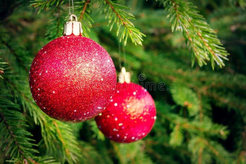 Rote Bälle auf Fichte, Teil des Weihnachtsbaums mit Weihnachtsdekorationen stockfotos