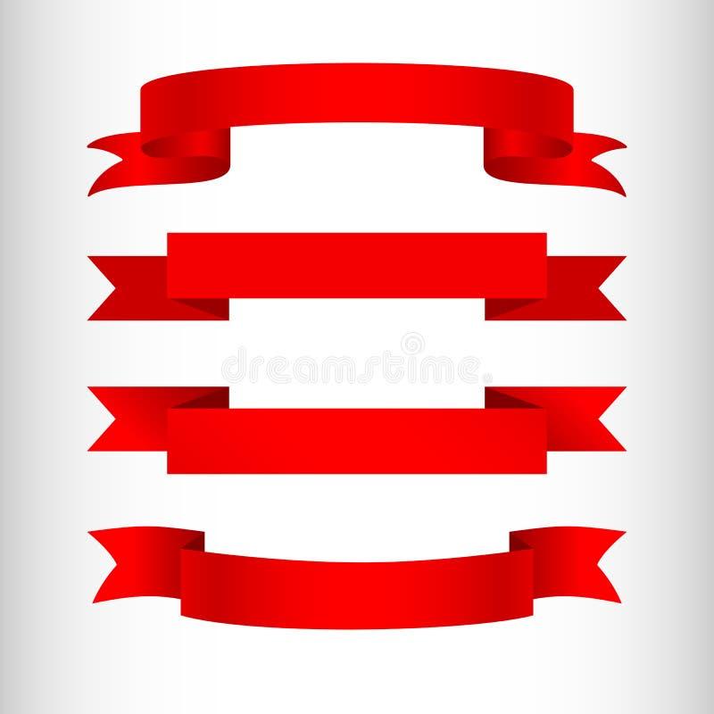 Rote Bänder auf einem heller Hintergrund lokalisierten Element des Entwurfs der Werbung von Fahnenplakaten ein Satz Bänder für Ve stock abbildung
