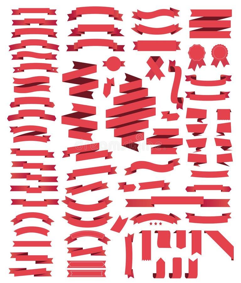 Rote Bänder der großen Sammlung lizenzfreie abbildung