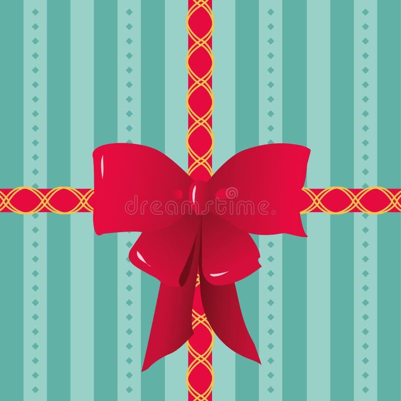 Rote Bänder und Bogen gebunden auf gestreiftem Geschenk-Packpapier lizenzfreie abbildung