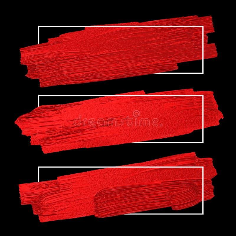 Rote Bürste schüren Beschaffenheit auf schwarzem Hintergrund mit Linie Rahmen lizenzfreie abbildung