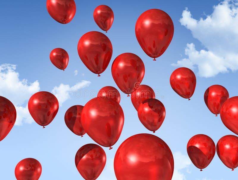 Rote Ballone auf einem blauen Himmel lizenzfreie abbildung