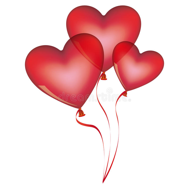 rote Ballone eingestellt in Herzformdesign vektor abbildung