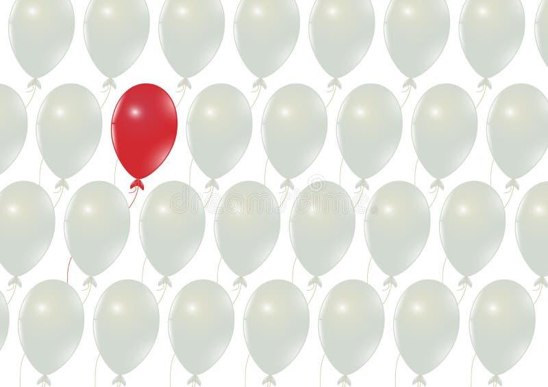 Rote Ballonstellung heraus von den weißen Ballonen, von der Führung, vom Unterschied und vom Stand heraus vom Mengengeschäfts-Kon lizenzfreie abbildung