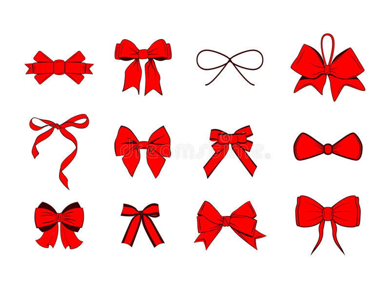 Rote Bandbögen eingestellt Ikonen der vektorqualitäts 3d Vektorillustration auf Weiß vektor abbildung
