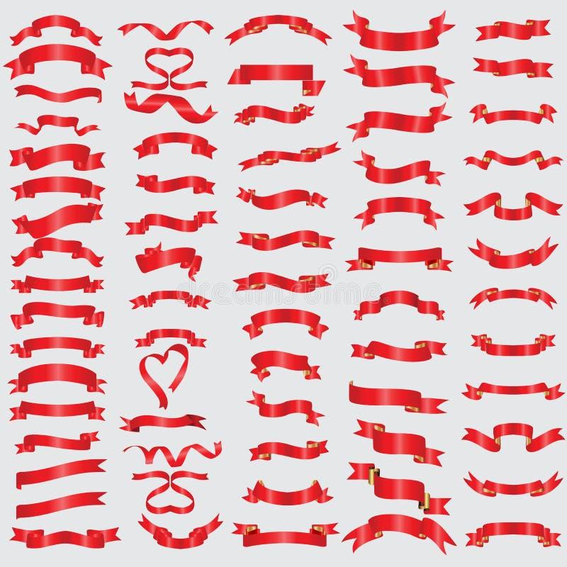 Rote Bandsammlung Illustration eps10 lizenzfreie abbildung