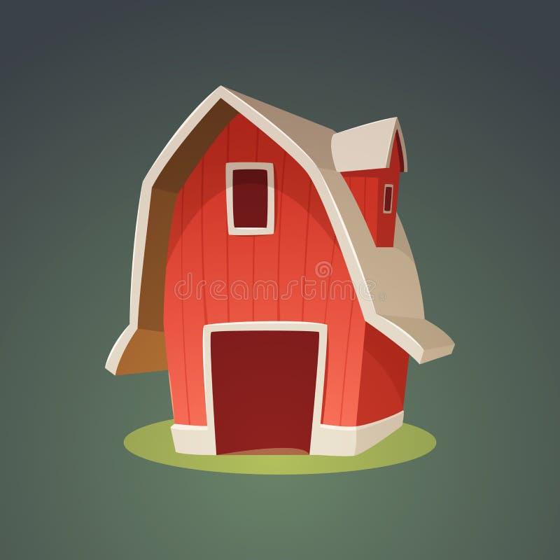 Rote Bauernhof-Scheunen-Ikone stock abbildung