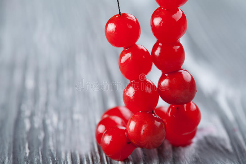 Rote Beerenhalskette Viburnumbeerenperle, Chaplet lizenzfreie stockfotos