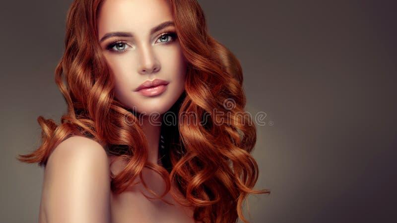 Rote behaarte Frau mit umfangreicher, glänzender und gelockter Frisur Attraktive junge Dame mit Kamm auf einem grauen Hintergrund lizenzfreies stockbild