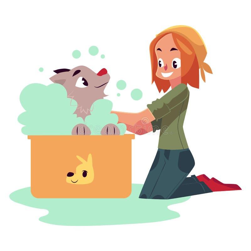 Rote behaarte Jugendlichereinigung, ihren Hund badend, Welpe lizenzfreie abbildung