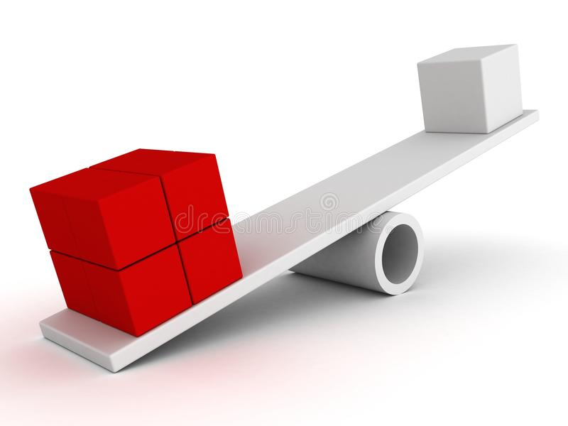 Rote Blöcke auf einem Schwerpunktgewinn des weißen Führers vektor abbildung