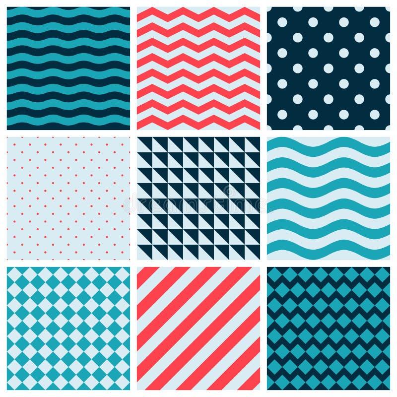 Rote blaue bunte Wellen-Vektor-Zusammenfassungs-geometrisches nahtloses Muster-Design-Sammlungs-Dekorations-Netz vektor abbildung