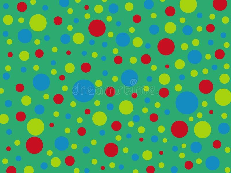 Rote, blaue, gelbe Erbsen, multi farbige Stellen auf einem grünen backgroun vektor abbildung