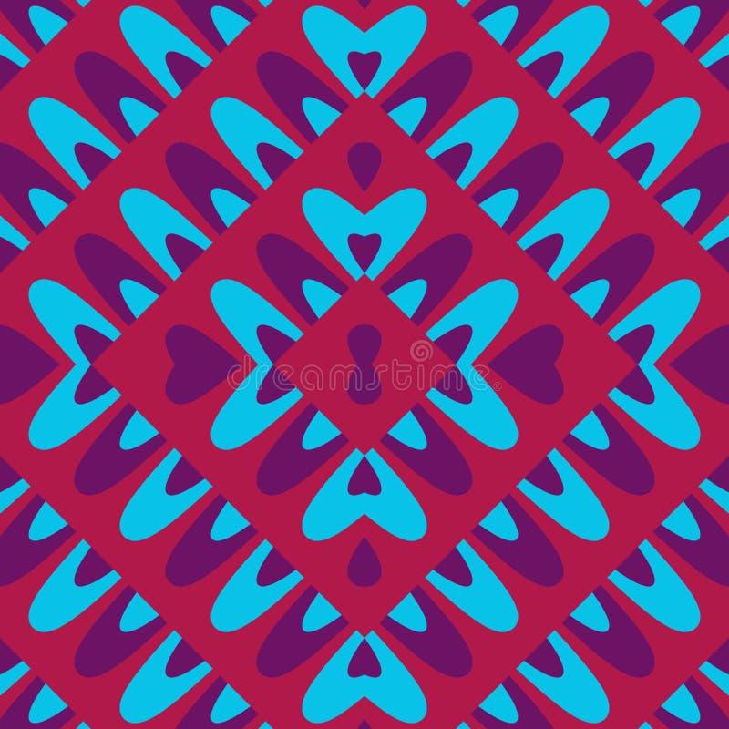Rote blaue purpurrote Blume auf rhombischer verzierter Fliese lizenzfreie abbildung
