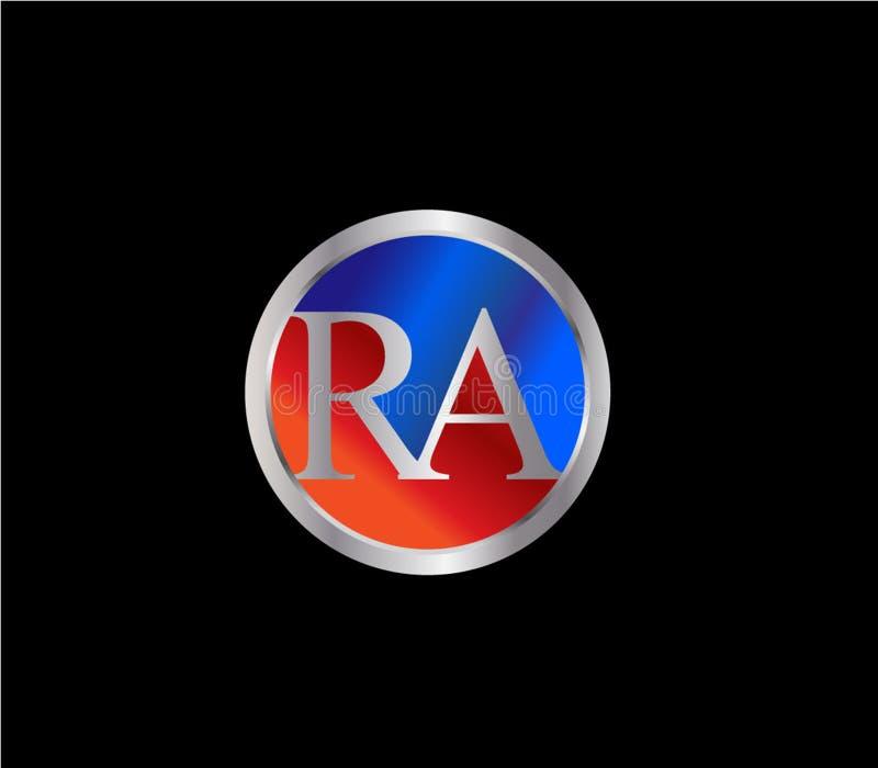 Rote blaue silberne Farbe neuerer Logo Design der RA Initial-Kreisform stock abbildung