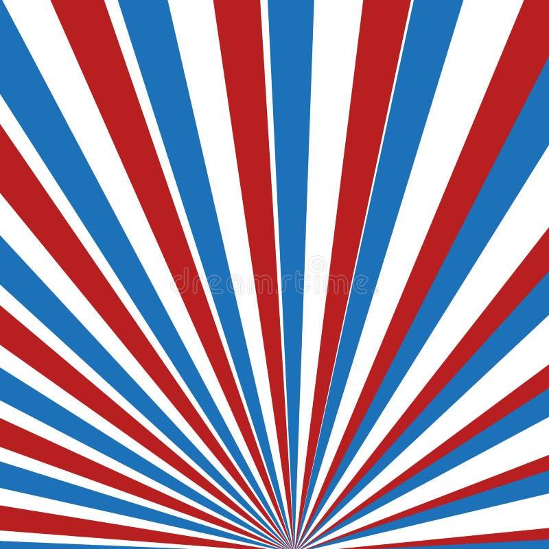 Rote, blaue und weiße Strahlen lizenzfreie abbildung