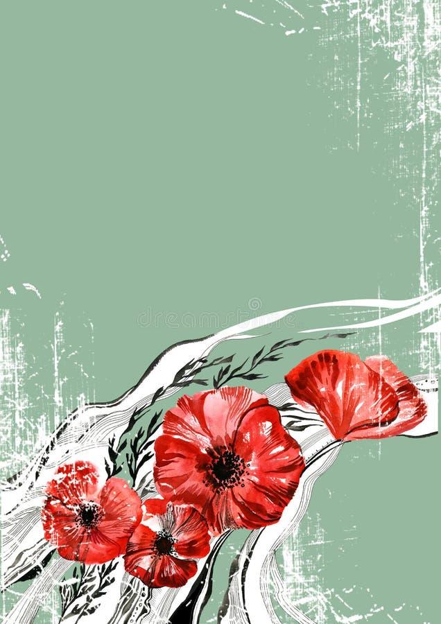 Rote Blumen auf Grün vektor abbildung