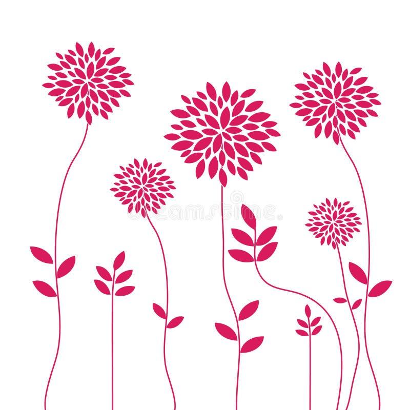 Rote Blumen auf Weiß vektor abbildung