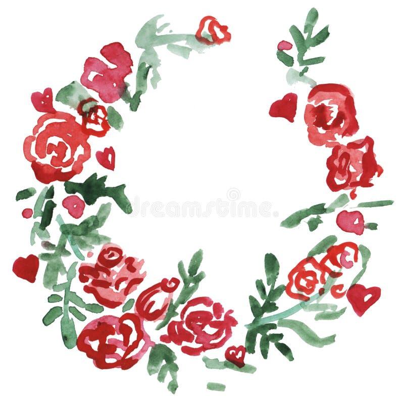Rote Blumen des Aquarells winden Blumenrahmen, Illustration handgemalt Getrennt auf weißem Hintergrund lizenzfreie abbildung