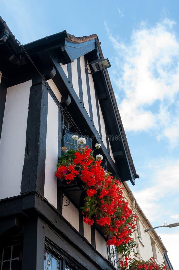 Rote Blumen im Blumenkasten auf Tudor-Geb?ude lizenzfreies stockfoto