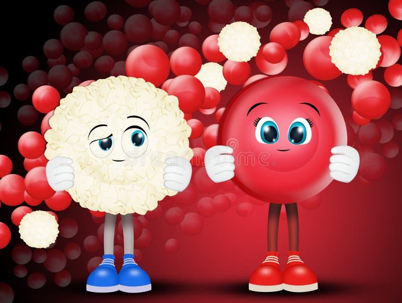 Rote Blutkörperchen und Weiß stock abbildung