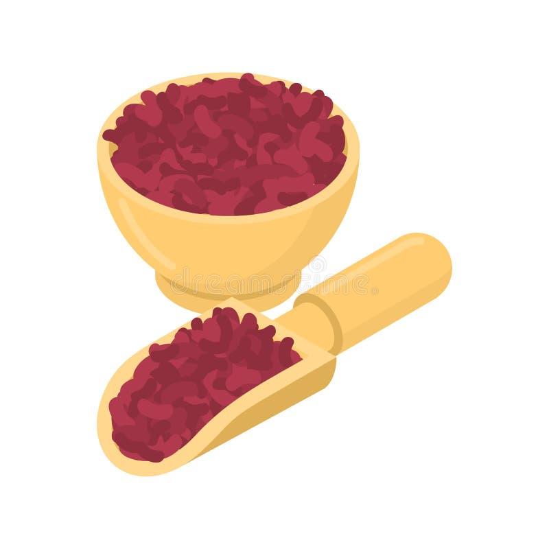 Rote Bohnen in der hölzernen Schüssel und im Löffel Grützen im hölzernen Teller und im shov stock abbildung