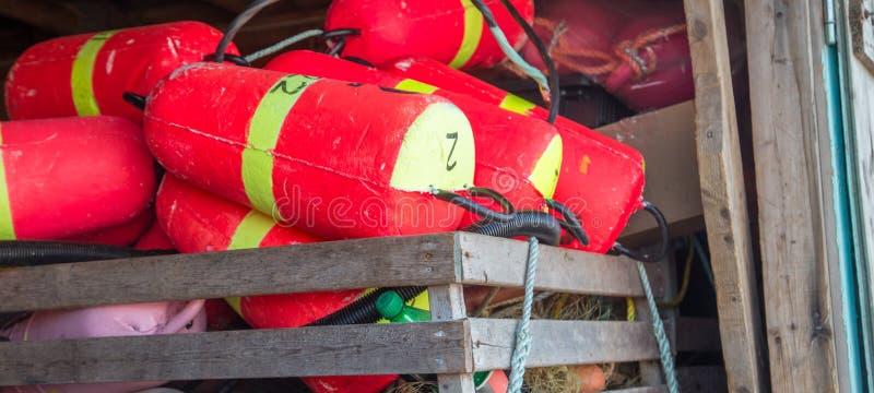 Rote Bojen Prince-Edward-Insel stockfotografie