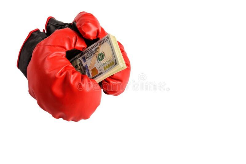 Rote Boxhandschuhe mit Dollarscheinen auf einem weißen Hintergrund stockbild