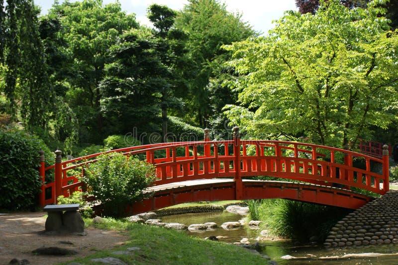 Rote Brücke in einem japanischen Garten lizenzfreie stockbilder