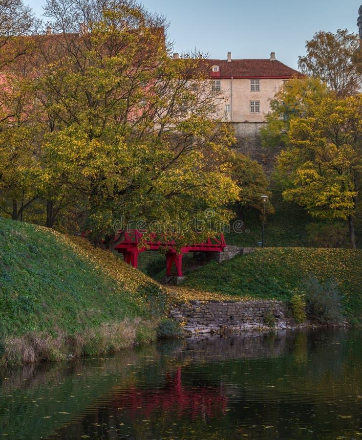 Rote Brücke im Herbst stockbild