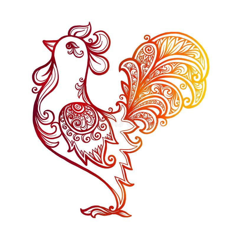 Rote brennende Hand gezeichneter aufwändiger Hahn - chinesisches Symbol von 2017 neuem Jahr lizenzfreie abbildung