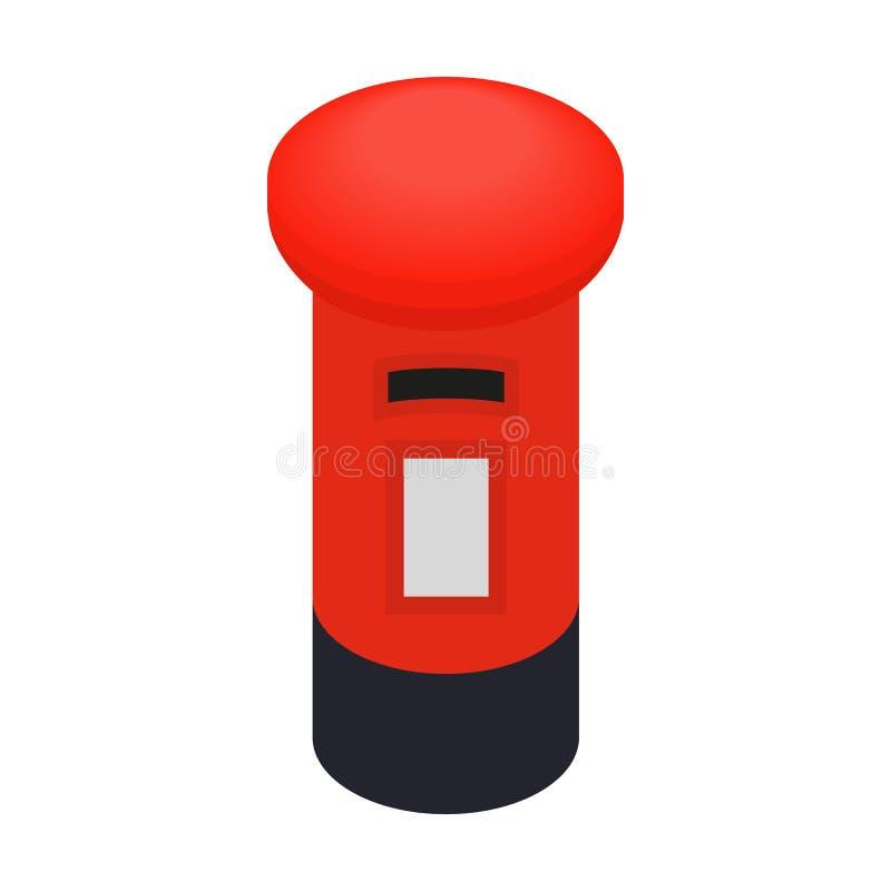 Rote Briefkastenikone Londons, isometrische Art 3d lizenzfreie abbildung