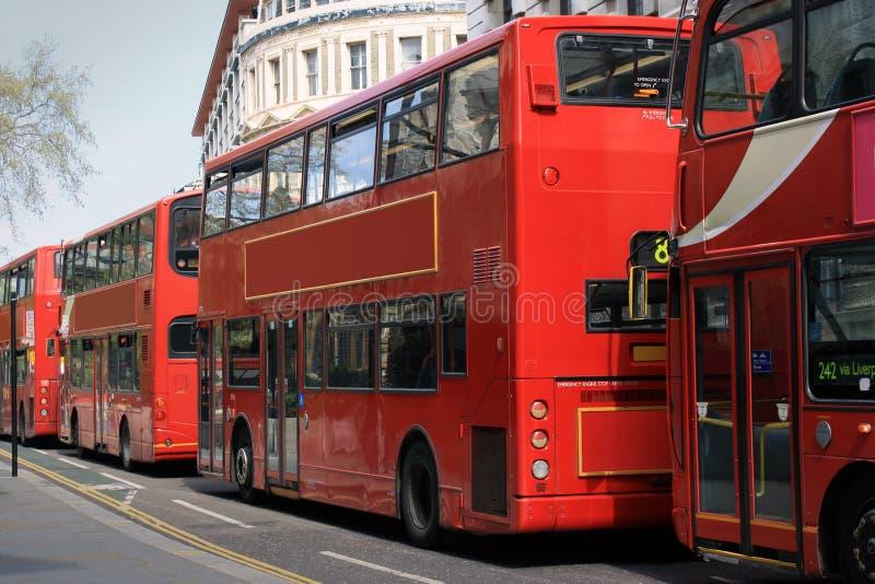 Rote Busse lizenzfreie stockfotografie