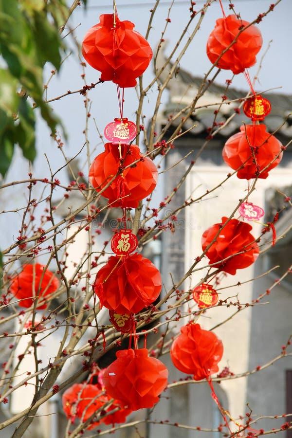 Rote chinesische Laternen lizenzfreies stockfoto