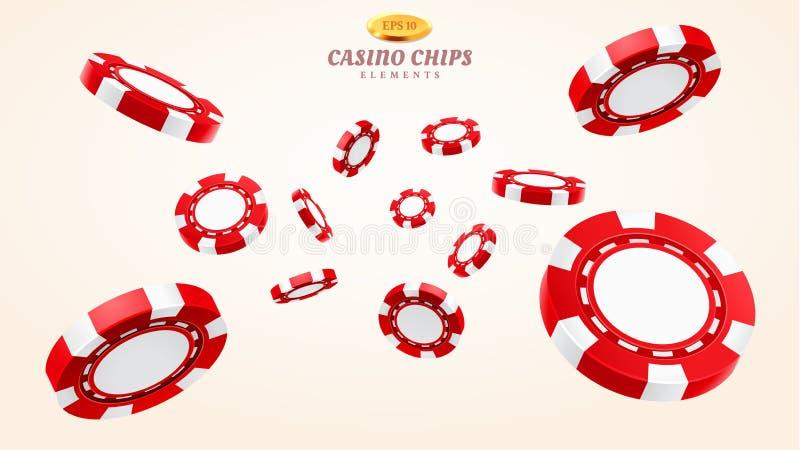 Rote Chips des Kasinos 3d oder fliegende realistische Zeichen lizenzfreie abbildung