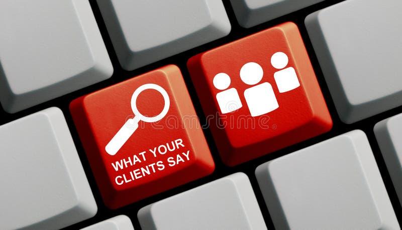 Rote Computer-Tastatur: Was Ihre Kunden sagen stockfotografie