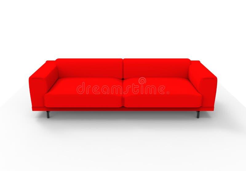 Rote Couch/Sofa lokalisiert stock abbildung